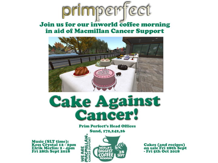 Prim Perfect's Cakes Against Cancer 2018 – for Macmillan CancerSupport